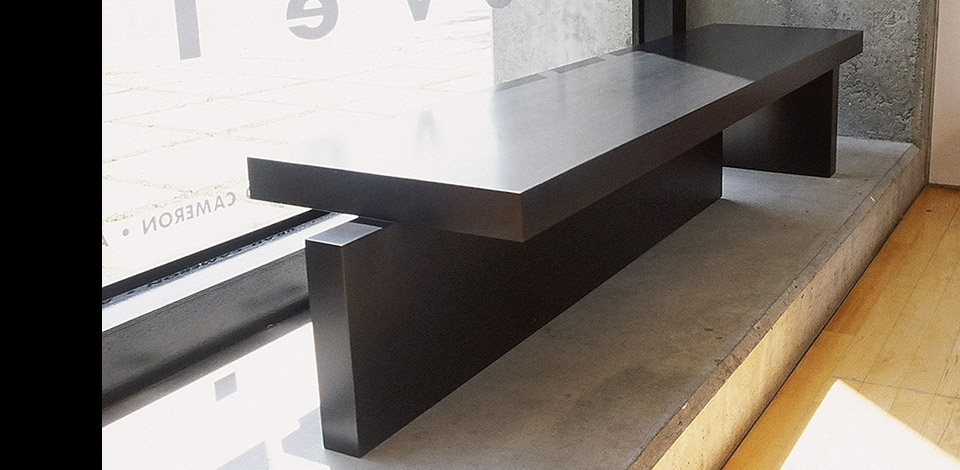 <p>Keel Square</p><p>2001</p><p>Custom designed as coffee table or console for the 2003 Vancouver Art Gallery Live Auction, Keel Long is made with 2-1/2'' thick solid vertical-grain Douglas fir, hemlock, or hardwoods.</p><p>Shown here in lake-salvaged vertical grain Douglas fir, with a dark stain finish.</p><p>Height 13'' Length 5'-9'' Depth 16''</p>