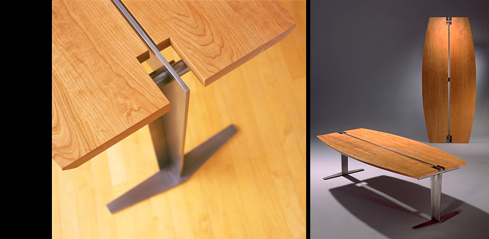 <p>Surf Table</p><p>1996</p><p>Originally design as a Japanese dining table for seating on the floor. Custom made in many lengths and various solid hardwoods. It was also scaled up to make a desk for a client in Hawaii, as shown in the photo on the left.</p><p>Shown here in solid cherry with cold rolled steel plate structure.<p>Height 15'' Width 27'' Length 5'-6''</p>